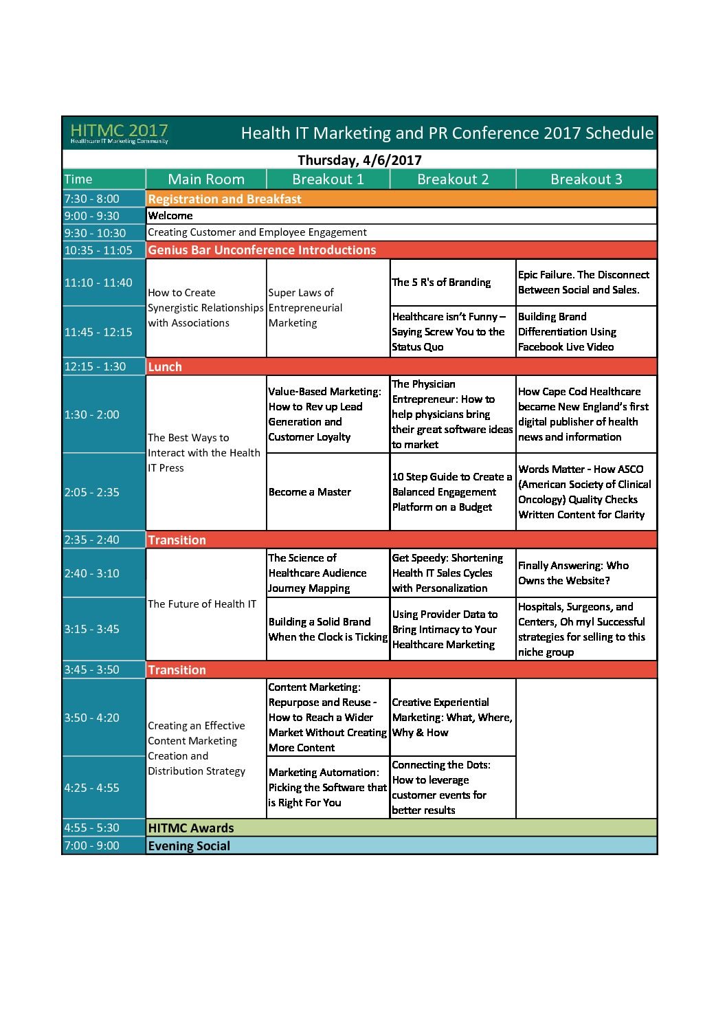 Health IT Marketing and PR Conference 2017 Schedule-at-a-Glance