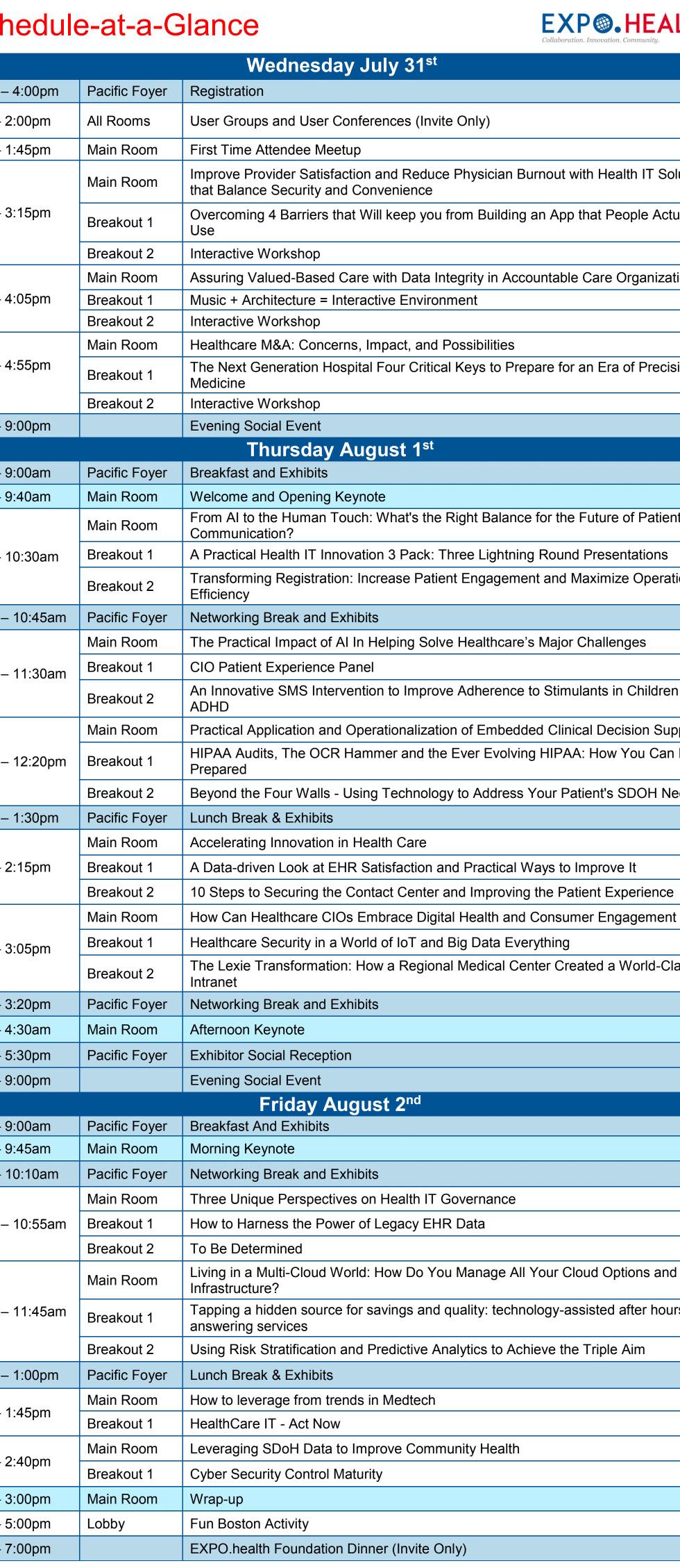 EXPO.health Program Schedule