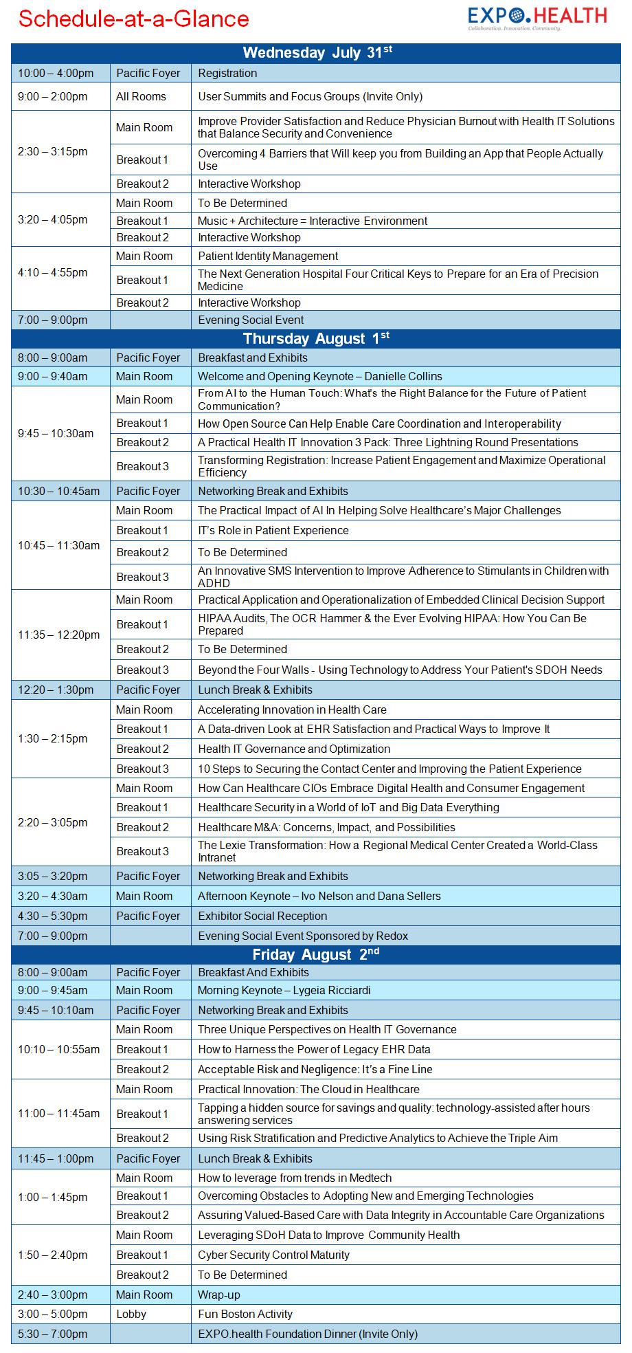 EXPOHealth19-Program-Schedule